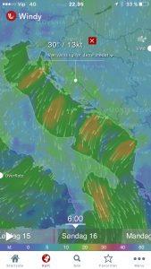 Søk Google Play eller AppStore etter windy og andre apper for værvarsel